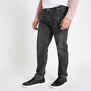 Big and Tall washed black tapered jeans