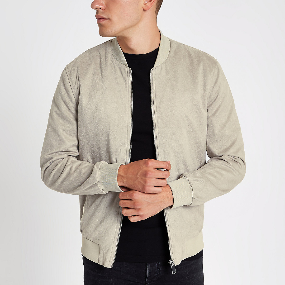 Stone faux suede bomber jacket