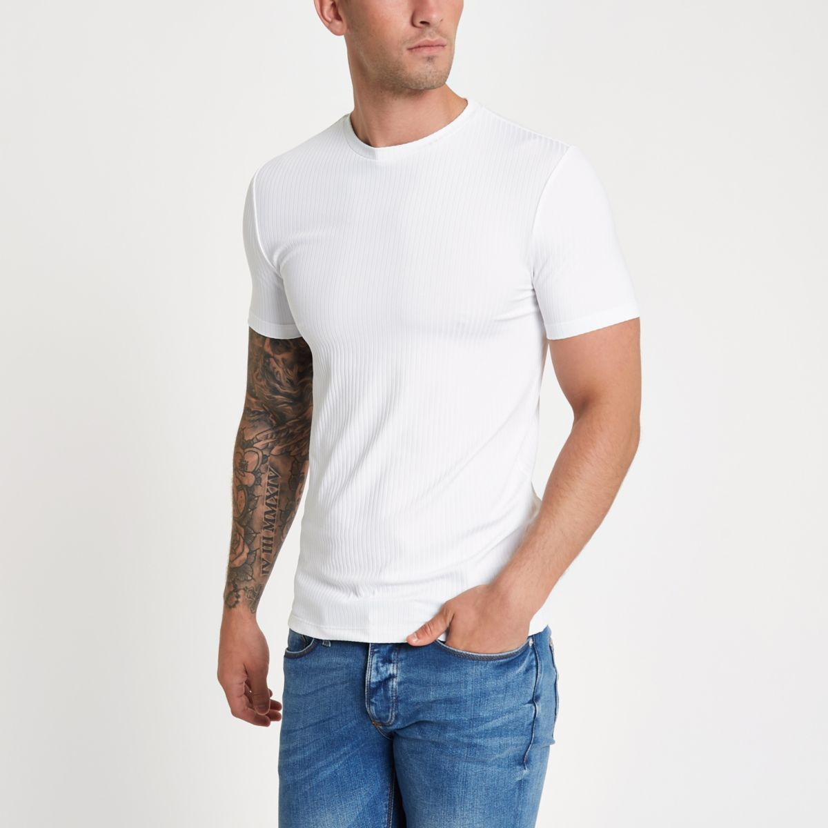 White rib muscle fit short sleeve T-shirt