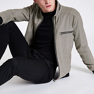 Blouson à carreaux marron