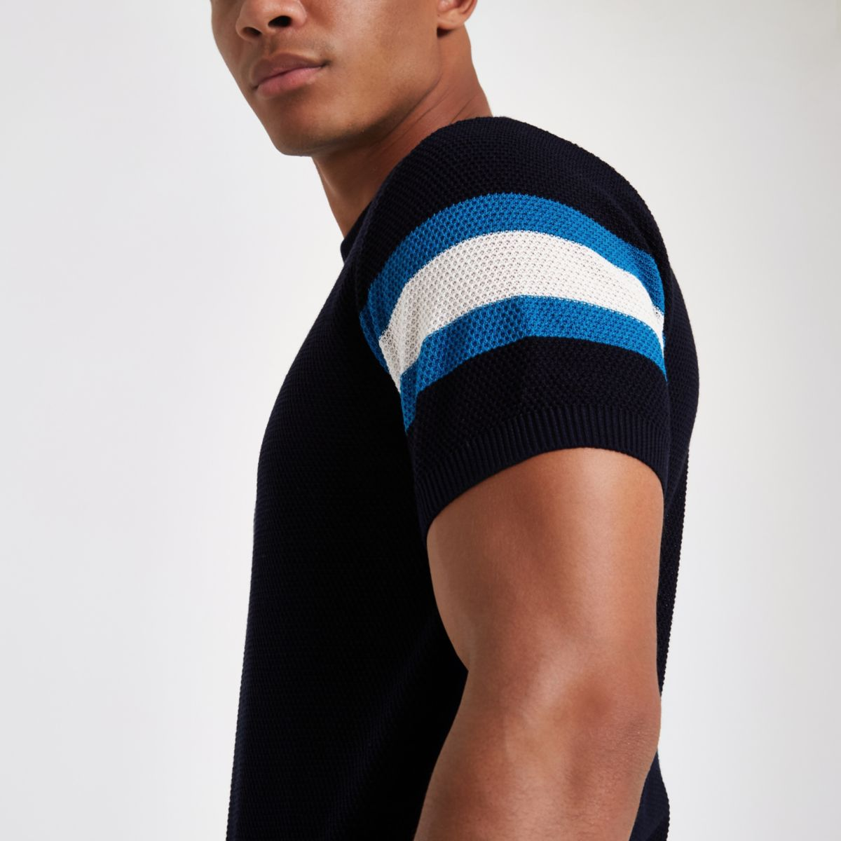 Navy knit stripe sleeve slim fit T-shirt