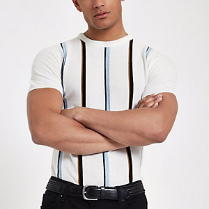 Ecru knit stripe slim fit T-shirt