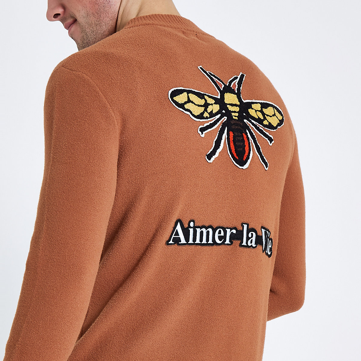 Rust embroidered back bee bomber jacket