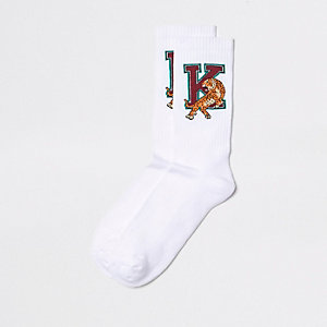 Chaussettes à imprimé tigre blanches style université