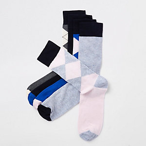 Blue argyle print socks multipack