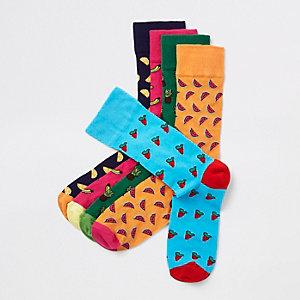Pink fruit print socks multipack