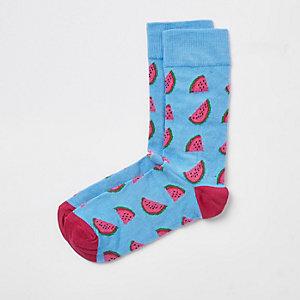 Blauwe sokken met watermeloenprint