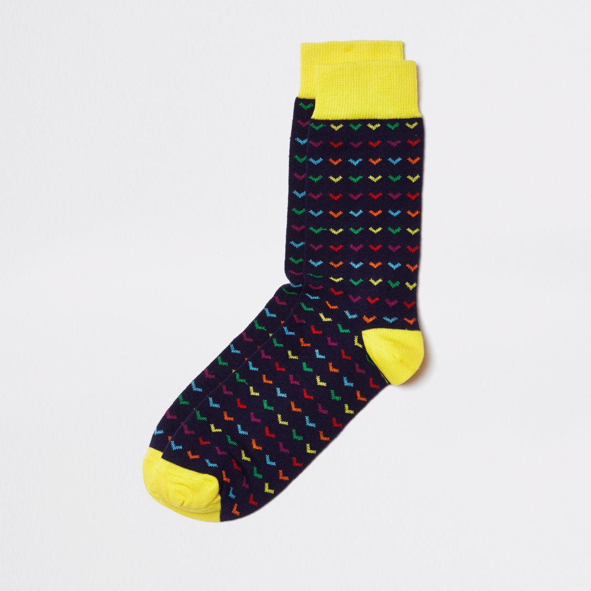 Navy multi print socks