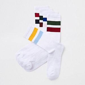 Multipack witte sokken met strepen