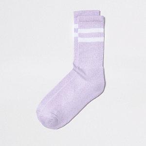 Chaussettes tubes rayées violettes