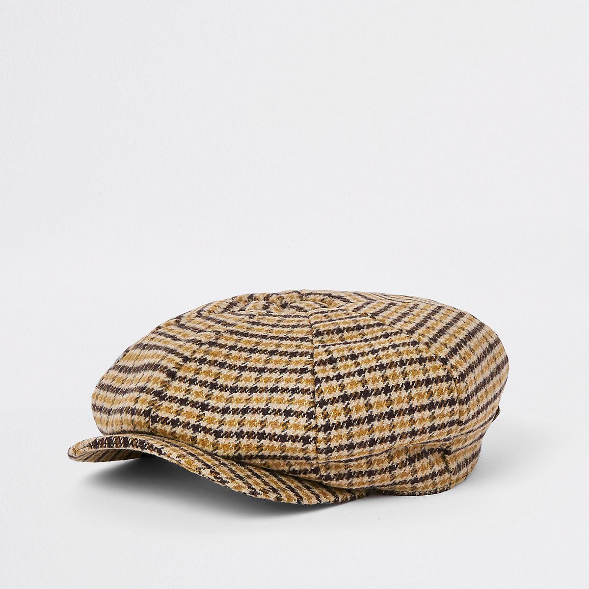 Mustard yellow check baker boy cap