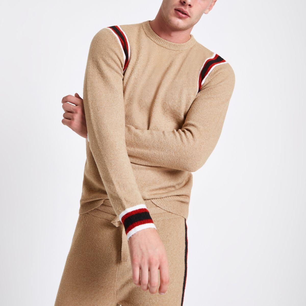 Camel knit slim fit contrast tape side sweater