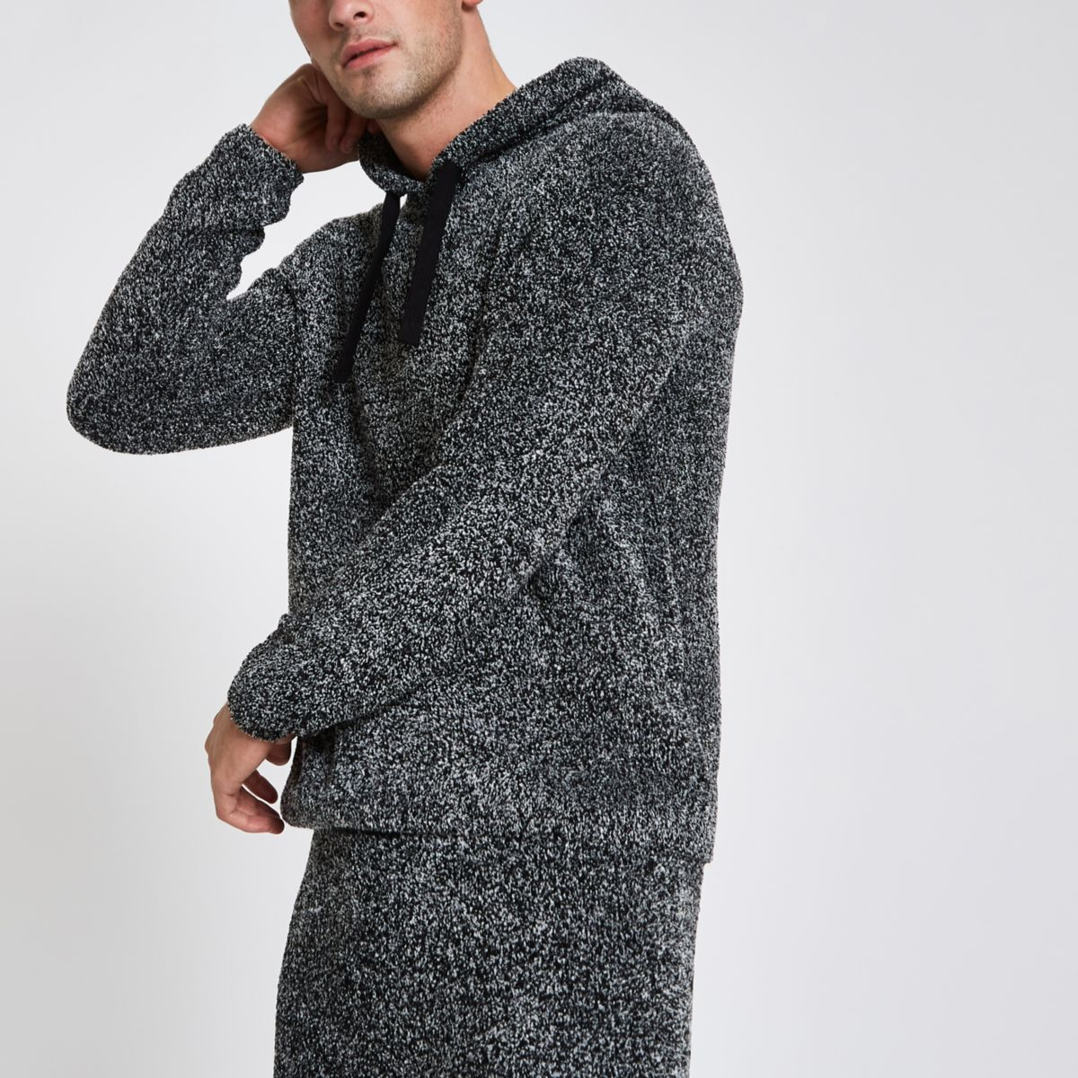 Grey slim fit teddy fleece hoodie