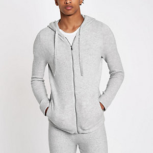 Grey knit muscle fit zip hoodie