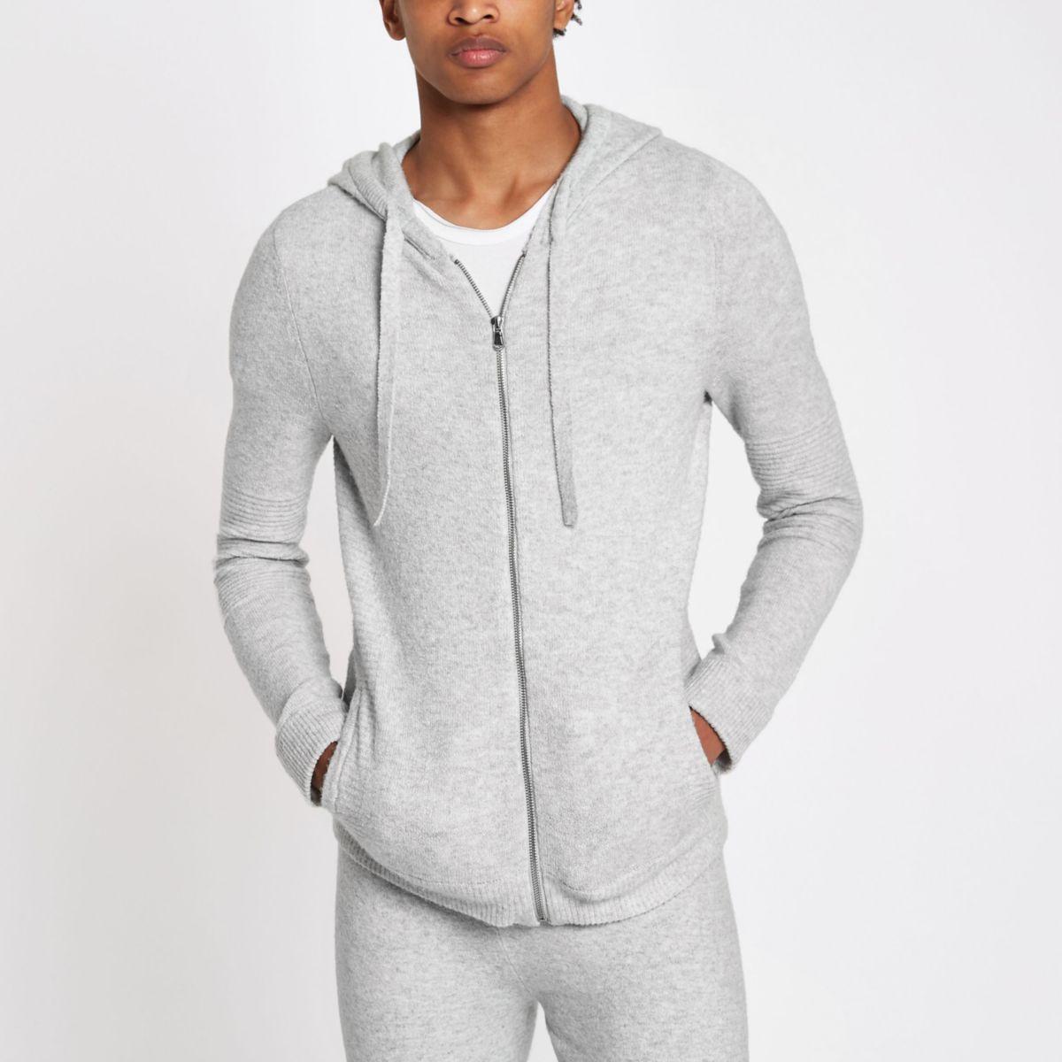 Grey knit muscle fit zip hoodie