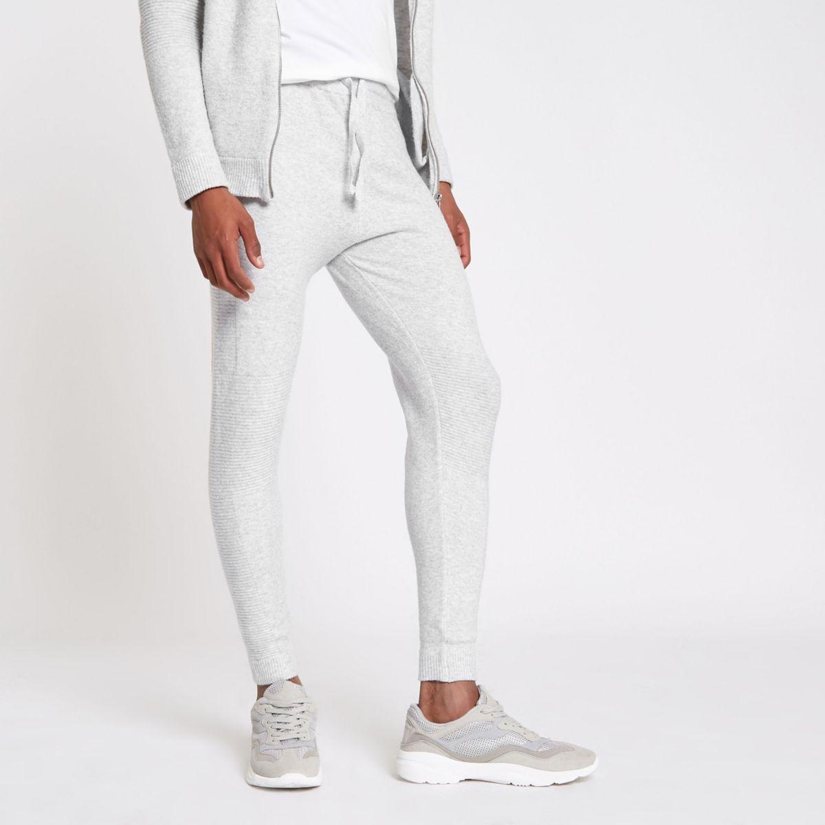 Grey knit slim fit joggers