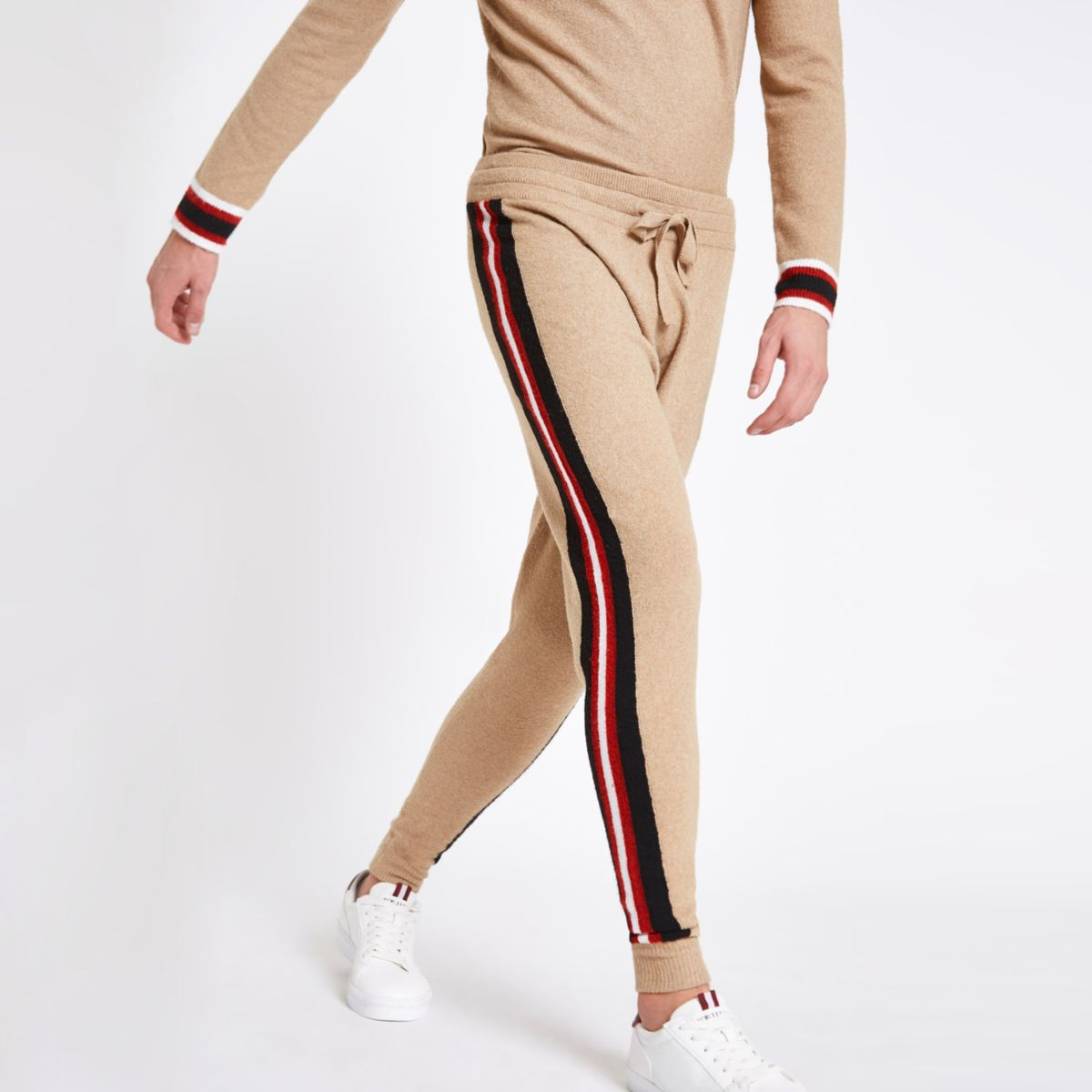Brown tape knit slim fit joggers