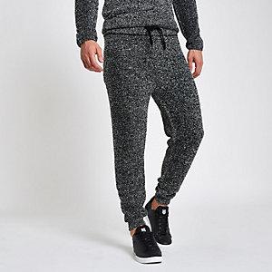 Graue Slim Fit Jogginghose aus Teddy-Fleece