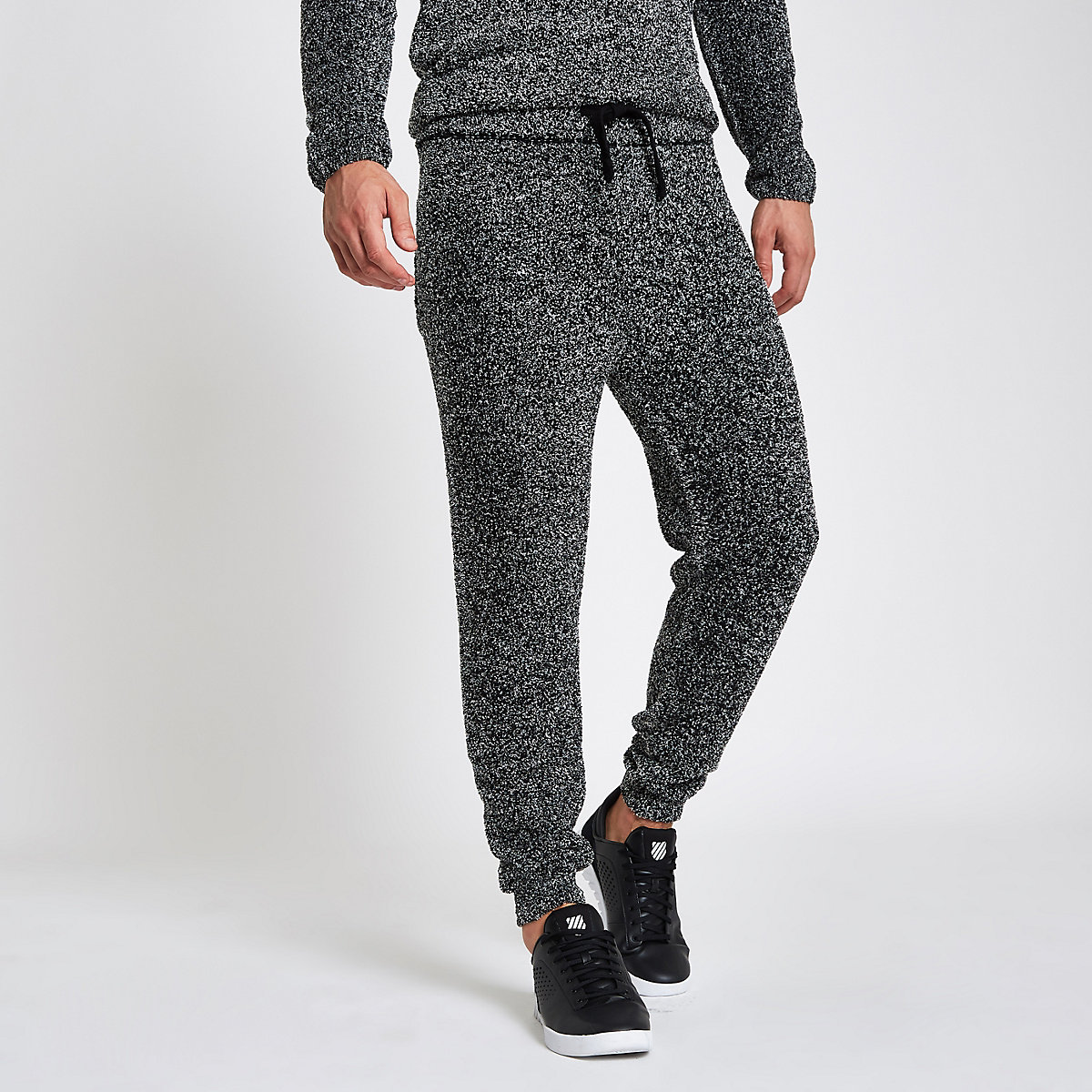 Grey slim fit teddy fleece joggers