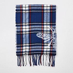 Blauer, karierter Schal mit Print