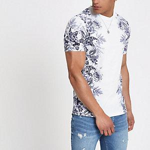 T-shirt slim à fleurs blanc