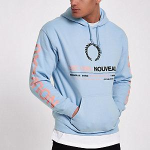 Blue 'Nouveau' crest print hoodie