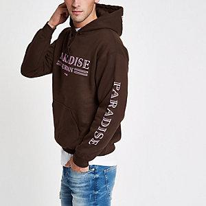 Bruine hoodie met 'paradise urban'-print
