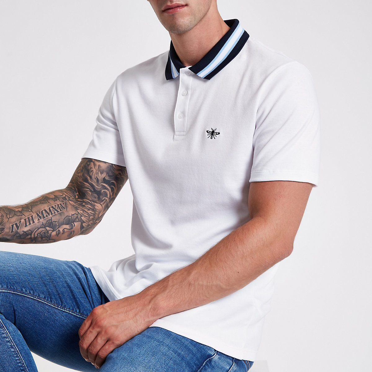 White stripe collar muscle fit polo shirt