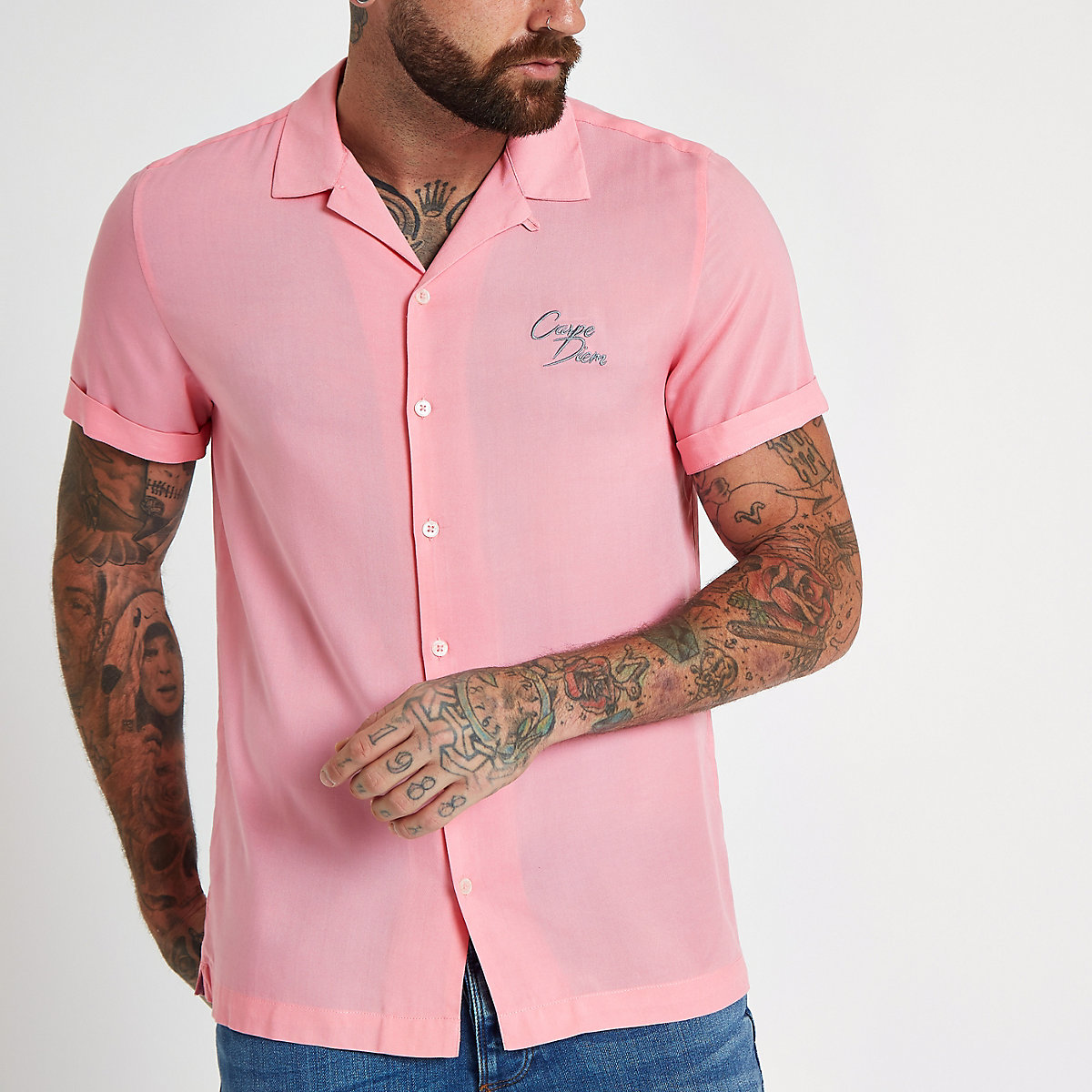 Pink 'carpe diem' embroidered shirt