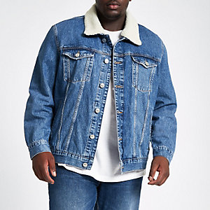 Big & Tall - Blauw denim jack met borgvoering