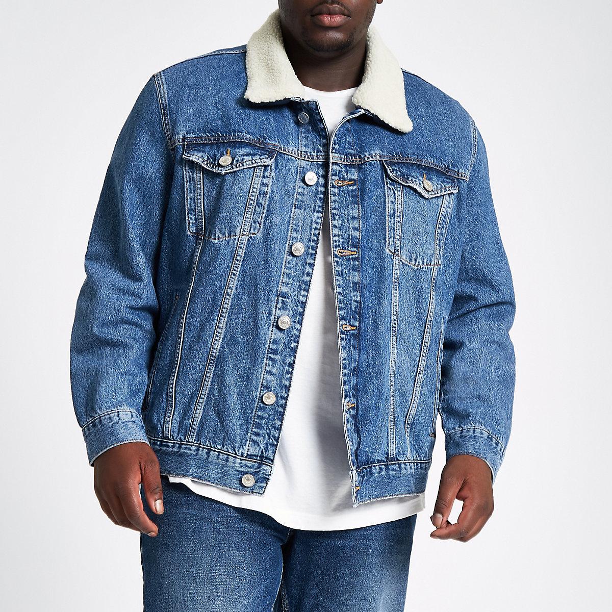 Big & Tall – Blaue, gefütterte Jeansjacke