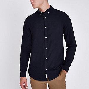 Marineblauw slim-fit oxford overhemd met geborduurde wesp