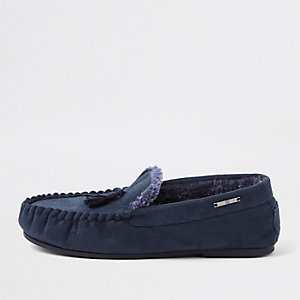 Navy tassle moccasin slippers