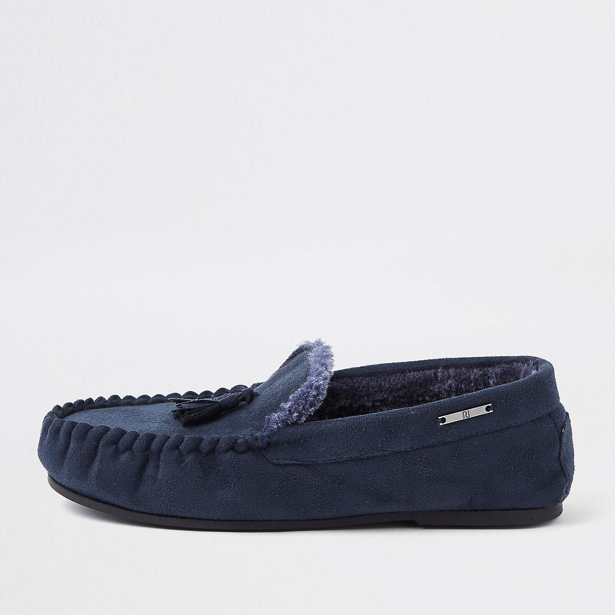 Navy tassle moccasin slippers