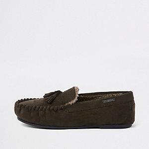 Dark brown tassle moccasin slippers