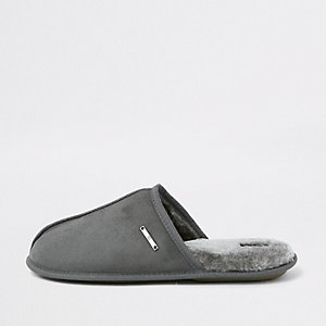 Grey mule slippers