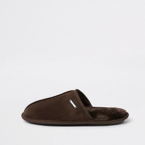 Dark brown mule slippers