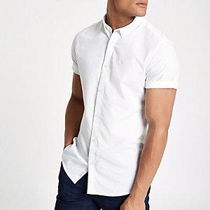 Chemise Oxford blanche à broderie guêpe