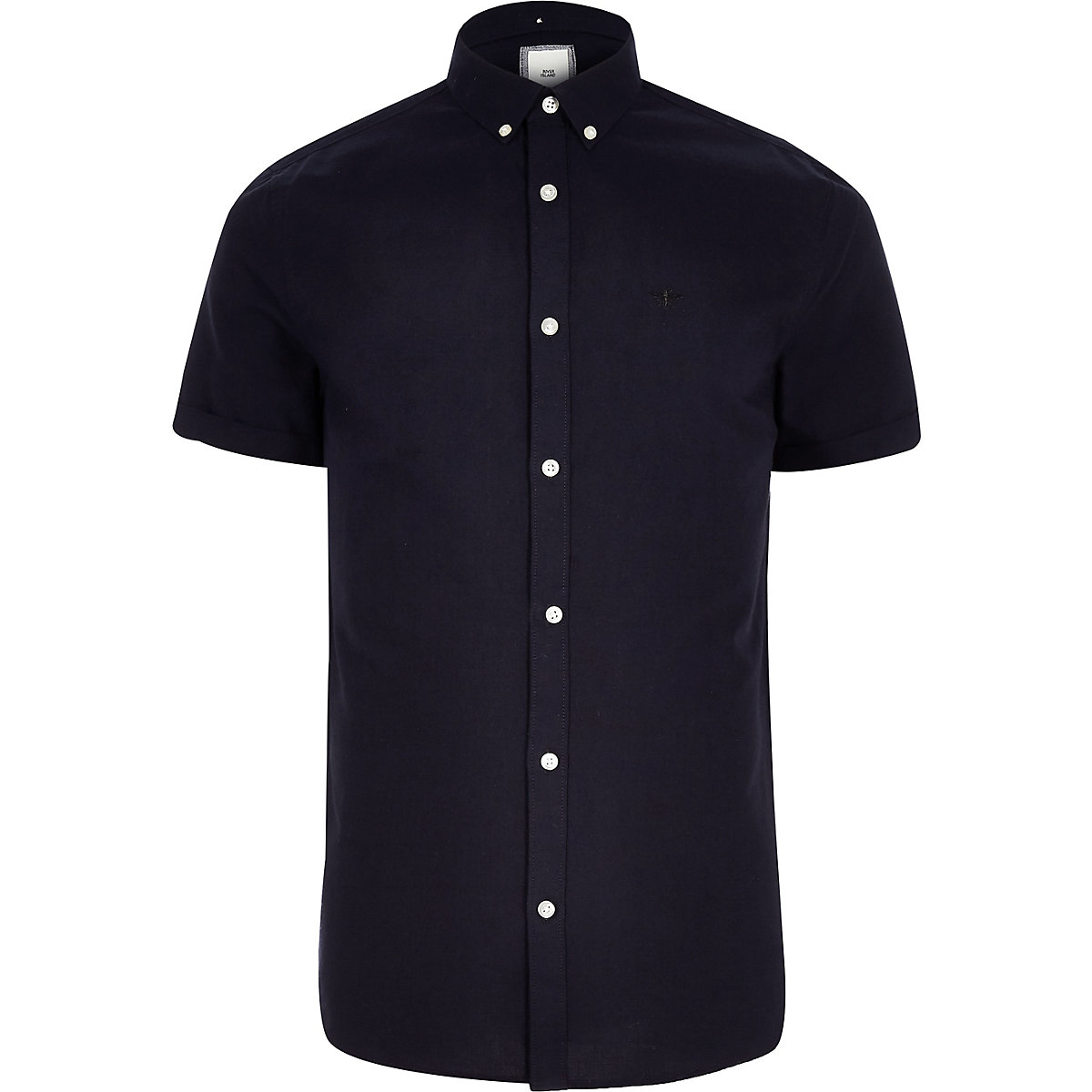 Navy embroidered short sleeve Oxford shirt
