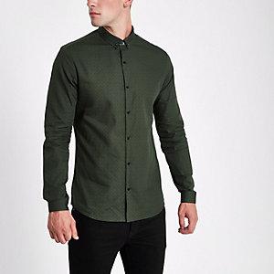 Donkgroen slim-fit overhemd met tegelprint