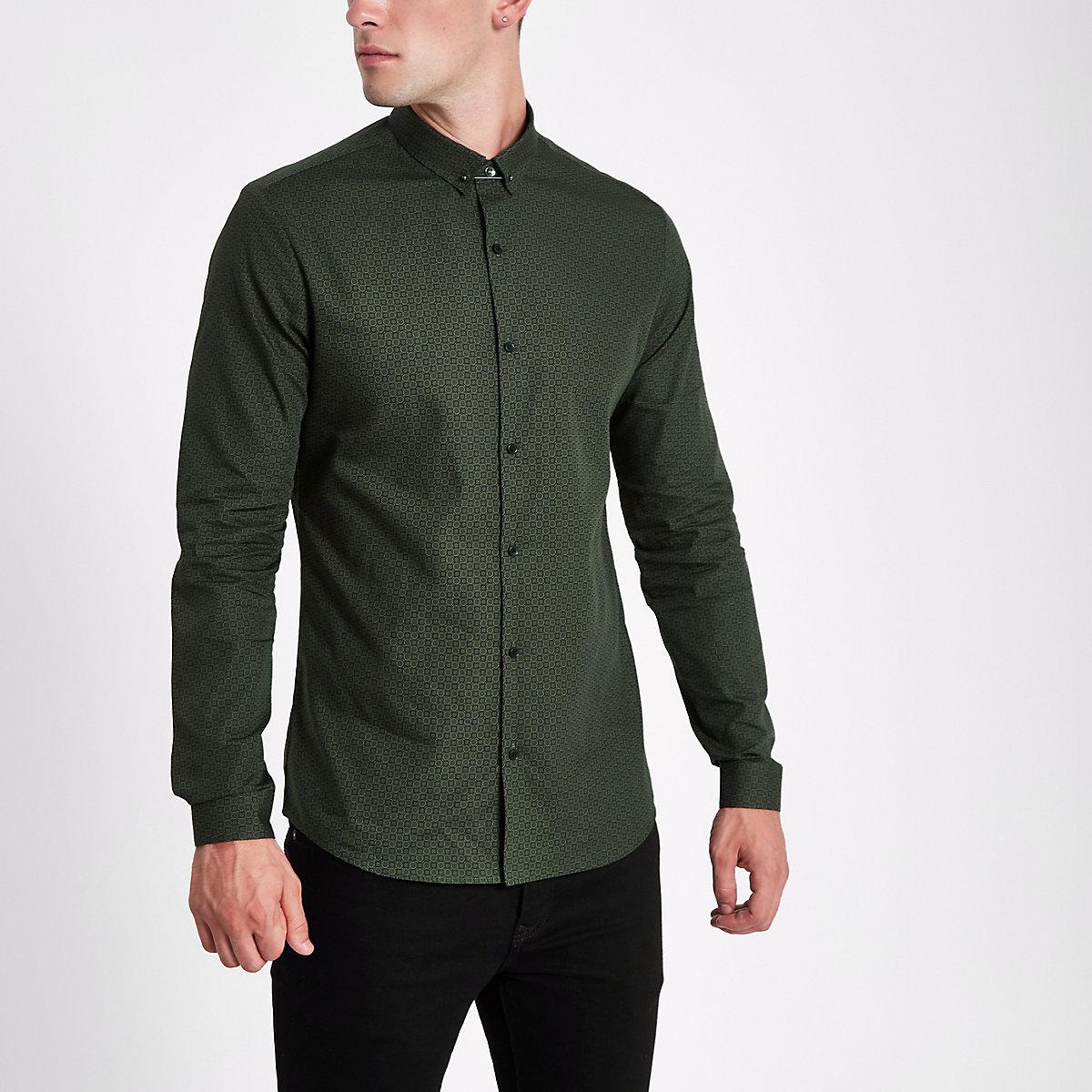 Dark green tile print slim fit shirt