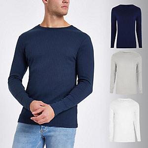 Marineblaues, geripptes Slim Fit T-Shirt im Set