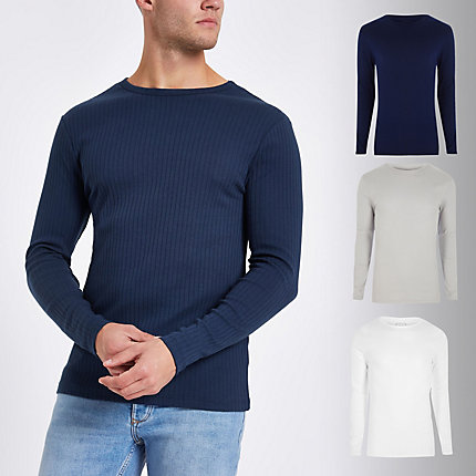 e4aa70298 Mens Navy rib slim fit T-shirt 3 pack | £25.00 | Trinity Leeds