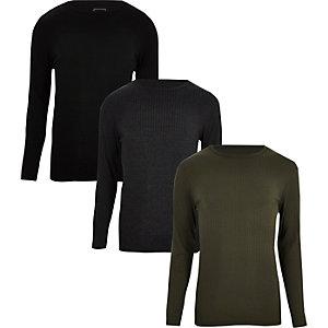 Multipack - Zwarte geribbelde slim-fit T-shirts