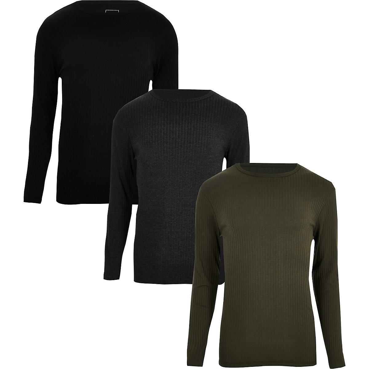 Set van 3 zwarte geribbelde slim-fit T-shirts