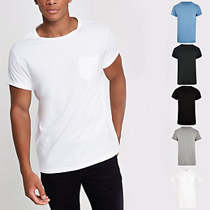 Rolled sleeve pocket T-shirts multipack