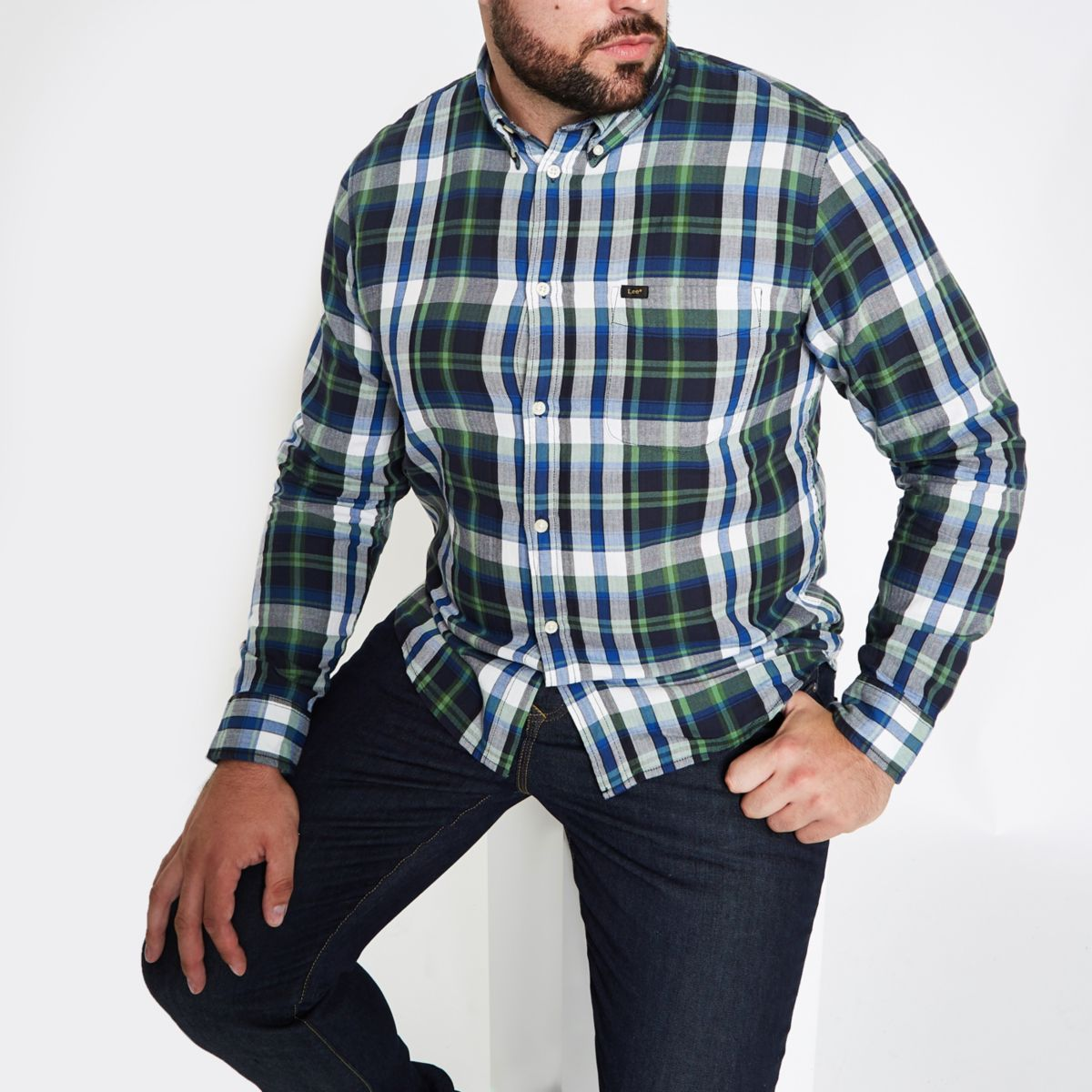 Big and Tall green check long sleeve shirt