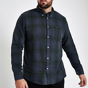 Big & Tall Lee blue check button down shirt