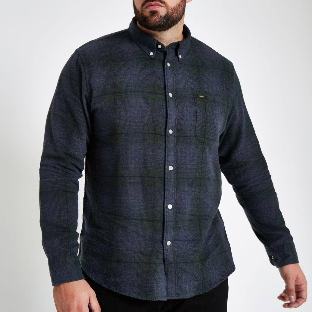 Big & Tall Lee blue check button down shirt