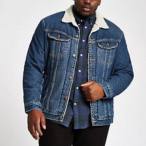 Lee – Big & Tall – Veste en jean bleue imitation mouton